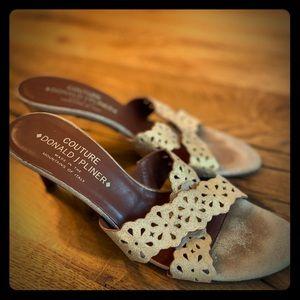 Donald Pliner designer heels in metallic gold.